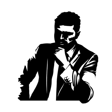 Businessman in suit thinking, abstract isolated vector illustration. Business people