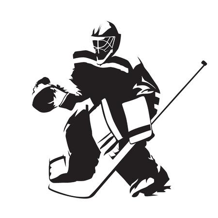 Ice hockey goalie, abstract vector silhouette illustration.