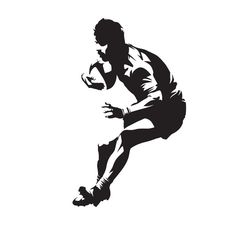 Rugby player with ball, team sport. Isolated vector silhouette.