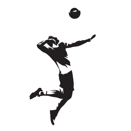 Volleyball player serving ball, isolated vector silhouette. Side view.