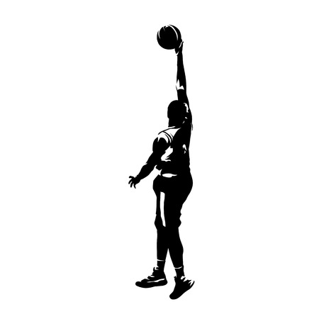 Basketball player jumping and shooting ball, isolated vector silhouette Illustration