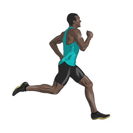 African American running man, isolated vector drawing.  Run