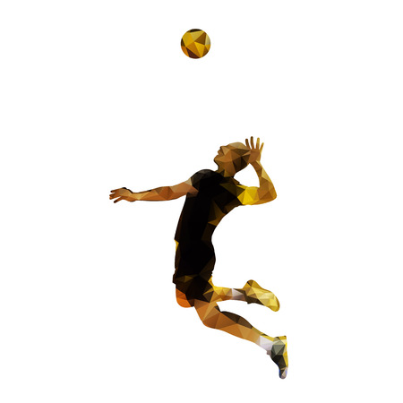 Polygonal volleyball player, isolated vector silhouette