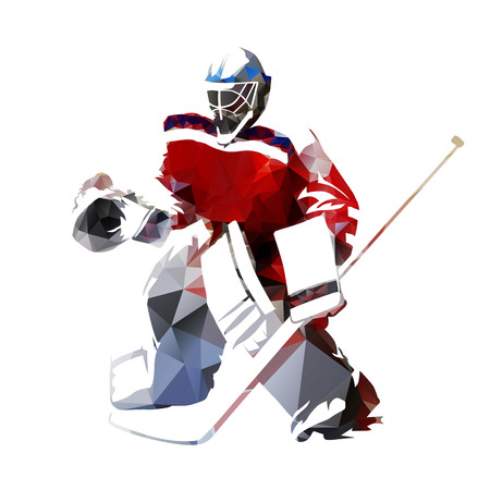 Ice hockey goalie, polygonal vector illustration