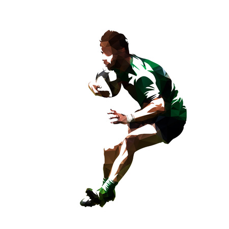 Polygonal rugby player running with ball, low poly vector isolated illustration Illustration