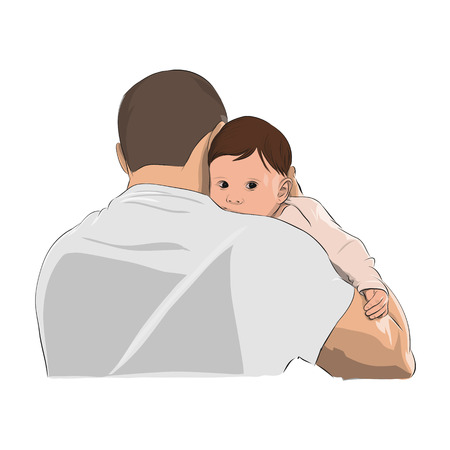 Father and baby, man holding child on his shoulder, vector illustration.
