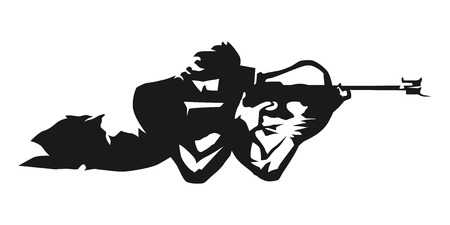 Biathlon, shooting in the lying. Abstract vector silhouette