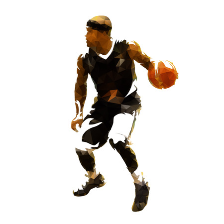 Basketball player in black jersey running and dribbling with ball, polygonal vector illustration. Rear view Illustration