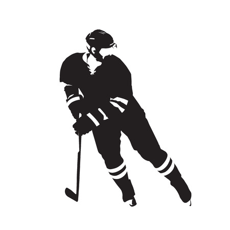 Ice hockey player, abstract vector silhouette Illustration.