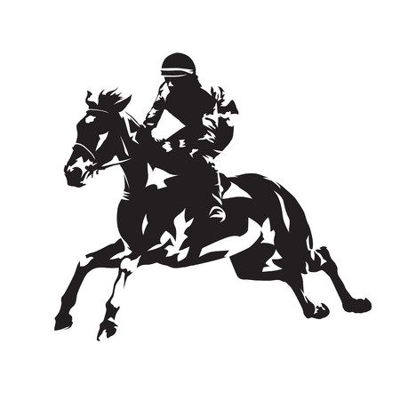Horse racing, abstract vector silhouette Illustration