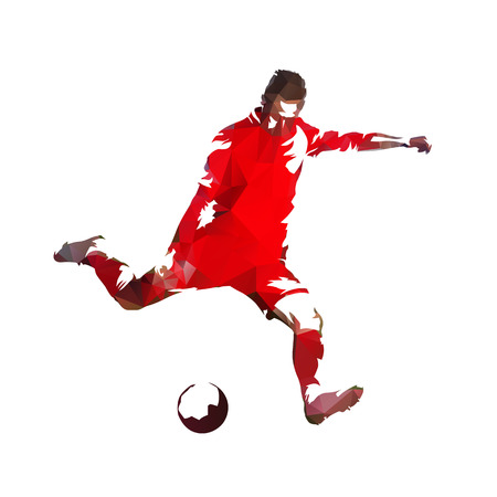 Soccer player in red jersey kicking ball, colorful polygonal vector illustration Vectores