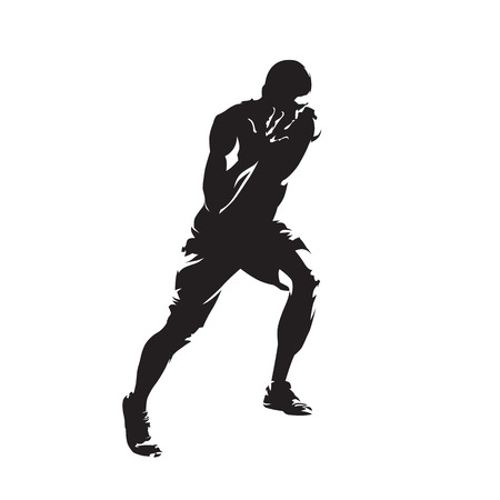 Runner, isolated vector silhouette, yung athlete running. Illustration