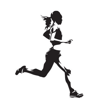 Running woman, abstract vector silhouette, side view