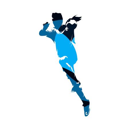 Handball player shooting ball, blue isolated vector silhouette