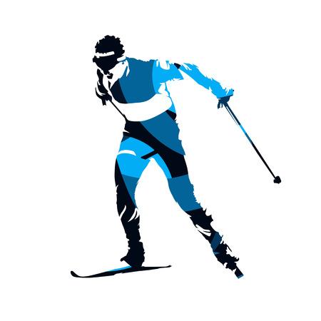 Sciatore di fondo, siluetta di vettore isolata blu astratta Vettoriali