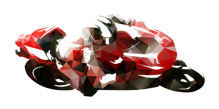 Road motorcycle racing, polygonal vector illustration Illustration