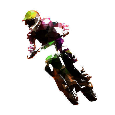 Motocross racing, polygonal fmx vector isolated illustration