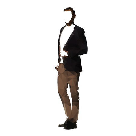 Business man in suit standing, side view, polygonal vector illustration  イラスト・ベクター素材