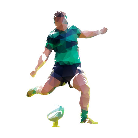 Rugby player kicking ball, polygonal vector illustration