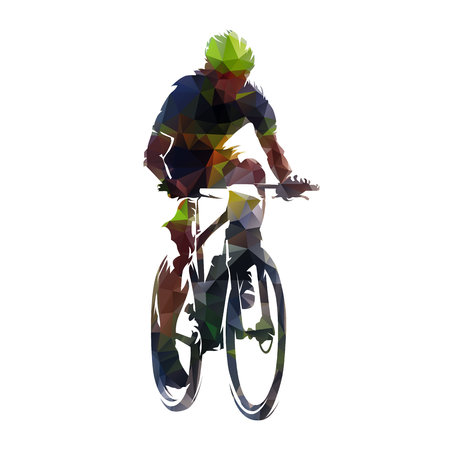 Mountain biking, polygonal bicycle racer vector illustration. Cycling