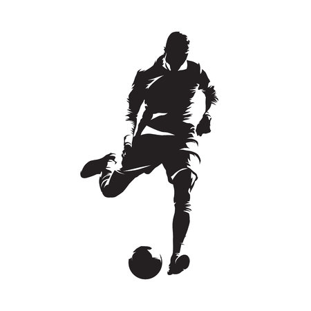 European football player shooting ball, soccer. Isolated vector silhouette