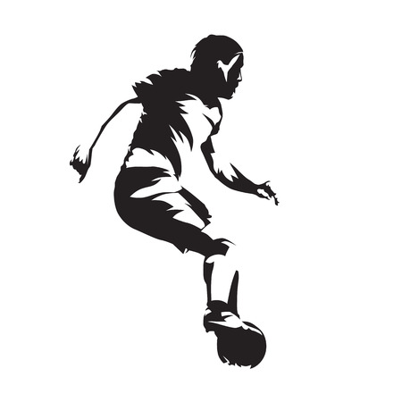 European football player with ball, soccer. Abstract vector silhouette. Side view Ilustracja