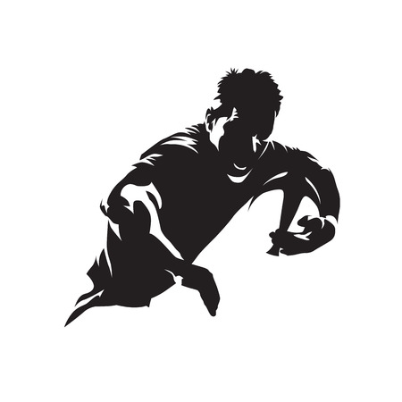Rugby player running with ball, team sport icon. Isolated vector silhouette