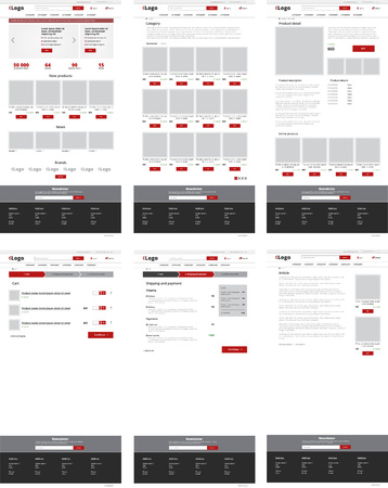 Ecommerce website template, set of six web pages. Flat design layout  イラスト・ベクター素材