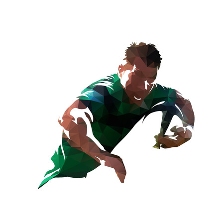 Rugby player holding ball, colorful polygonal vector illustration. Low poly Vectores
