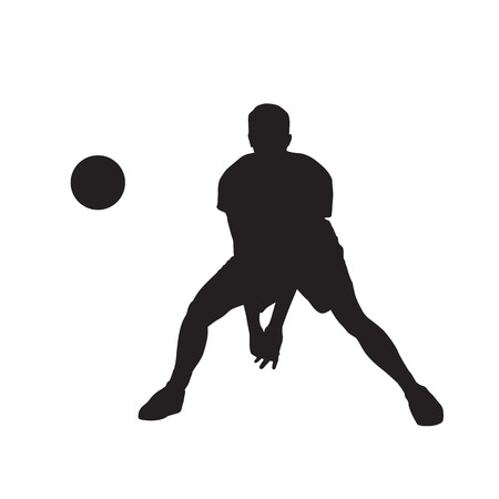 Volleyball player with ball, isolated vector silhouette. Front view Illustration