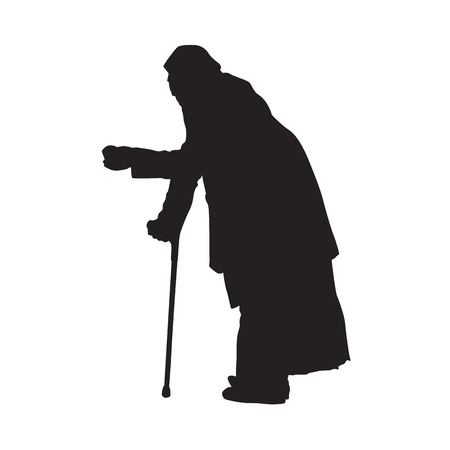 Beggar stands bowed with a cup in his hand, isolated vector silhouette. Side view