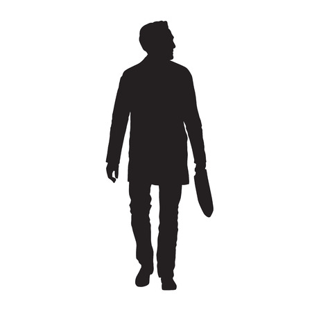 Adult man walking with bag in his hand, isolated vector silhouette. Front view