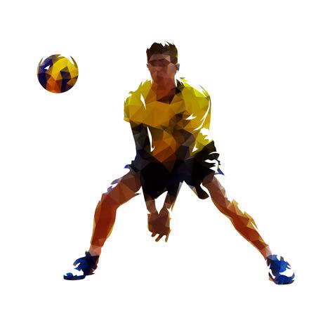 Jugador de voleibol, Ilustración de vector de baja poli aislado. Equipo de deporte