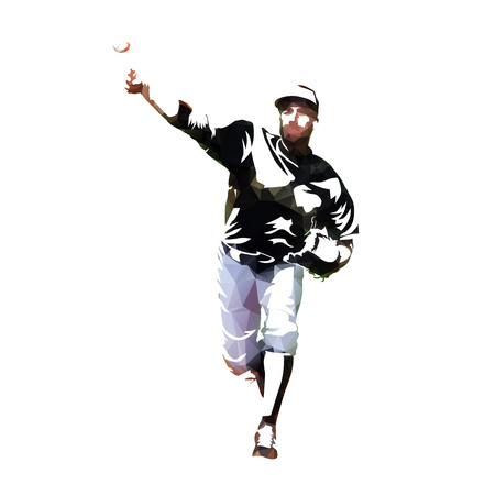 Baseball pitcher throwing ball, isolated low poly vector illustration. Baseball player front view