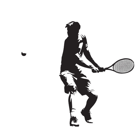 Tennis player, isolated vector silhouette. Backhand