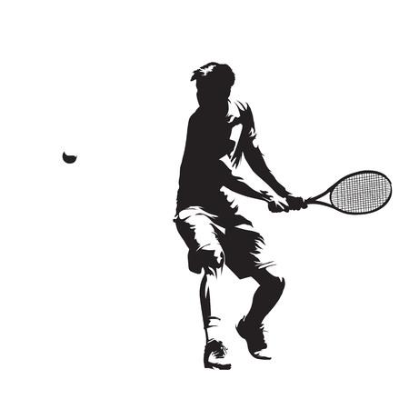 Jugador de tenis, silueta vector aislado. Revés Ilustración de vector
