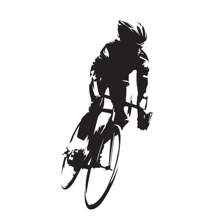 Cycling, road cyclist on his bike, isolated vector silhouette. Ink drawing, front view Stock Illustratie