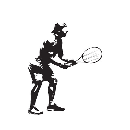 Tennis player isolated vector silhouette, tennis receiving Illustration