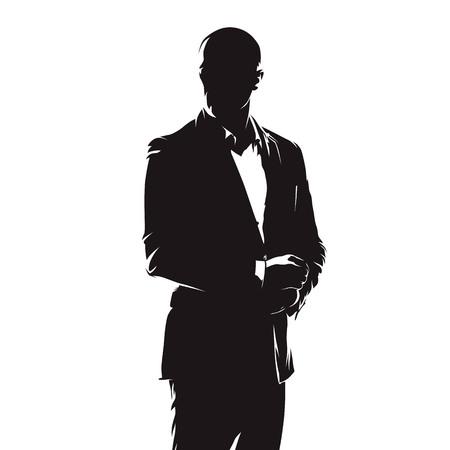 Homme d'affaires en costume, dessin à l'encre de bande dessinée abstraite, silhouette vecteur isolé. Gens Vecteurs
