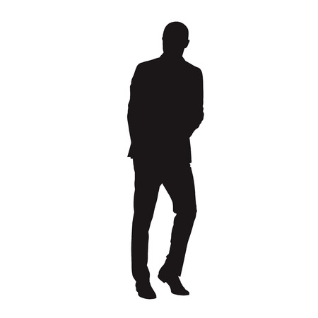 Business man in suit walking or leaning. Isolated vector silhouette Illustration