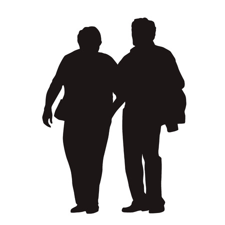 Senior couple walking together, isolated vector silhouette. Old people Vettoriali