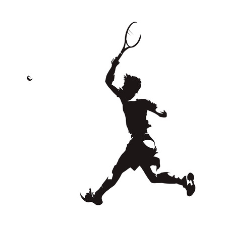 Tennis player hits the ball, isolated vector silhouette