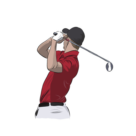 Golf player in red polo, isolated vector illustration. Golfer athlete Illustration