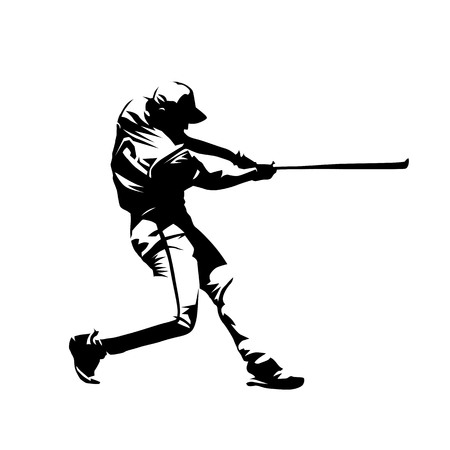 Baseball player, hitter swinging with bat, abstract isolated vector silhouette, ink drawing Çizim