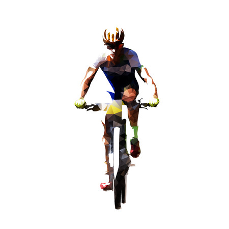 Mountain bike cycling, polygonal mtb cyclist. Isolated vector illustration. Front view Banco de Imagens - 106426286
