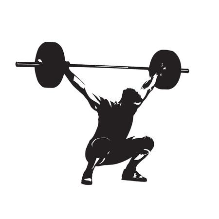 Levantamiento de pesas. Levantador de pesas con barra grande, silueta vector aislado. Hombre fuerte