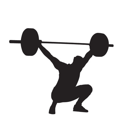 Weightlifter with big barbell, isolated vector silhouette