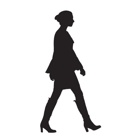 Sexy woman walking, side view, isolated vector silhouette Illustration