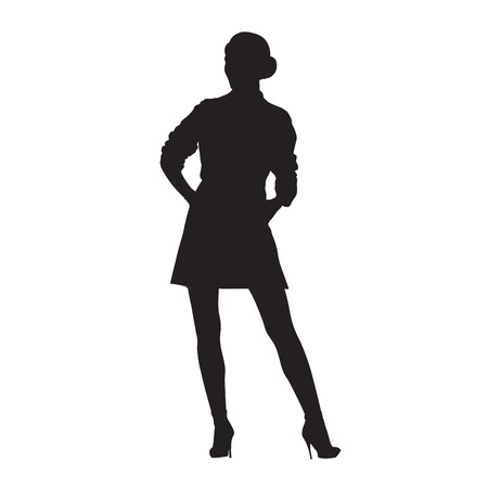 Woman standing, isolated vector silhouette. Model posing