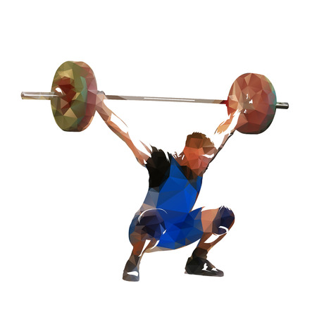 Weightlifting. Polygonal vector weight lifter with big barbell, isolated geometric illustration. Strong man